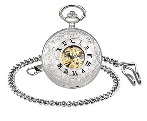 MICGIGI - Reloj de bolsillo unisex mecánico de mano con doble cubierta analógica y esqueleto de bolsillo con cadena
