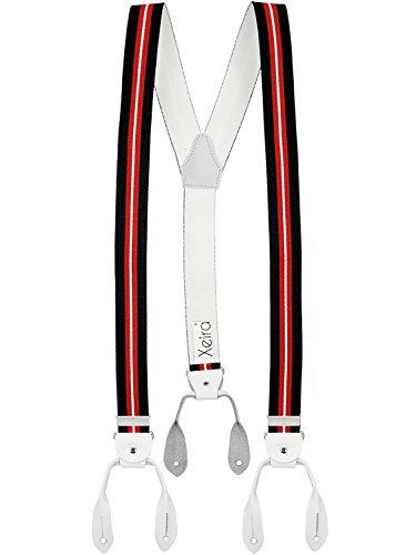 Xeira Hosenträger mit Vintage Lederriemen für Herren und Damen (Normale Länge, Schwarz/Rot/Weiß - Weiß)