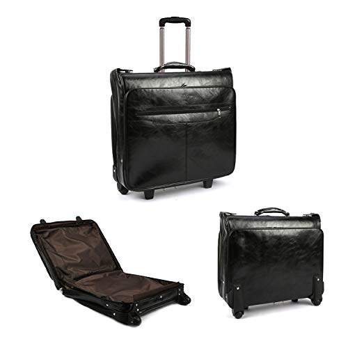 Lehom Leather Business Briefcase with Wheels Laptop Rolling Bag Computer Roller Bags Multifunctional Wheeled Mobile Office Bag for Men Women Black 20x19x 6.7inch