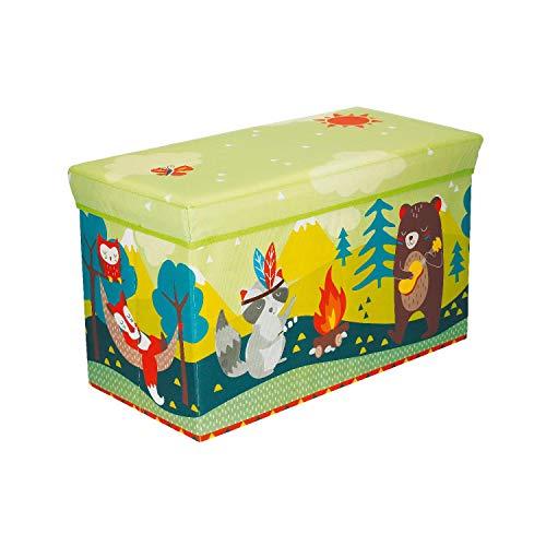 Bieco Aufbewahrungsbox mit Sitzhocker Waldtiere mit Stauraum und Deckel mit Polsterung, 63 L, Grün