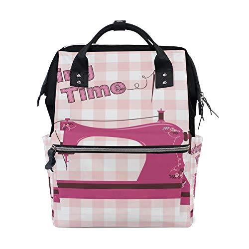 DEZIRO Canvas Roze Vintage Naaimachine Daypack voor Vrouwen Rugzakken