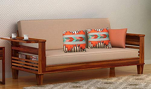 Keon Furniture 3 Seater Sheesham Wood Honey Finish Sofa Cum Bed for Living Room
