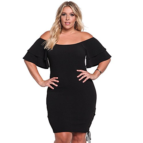 ROSIANNA Off Shoulder Ruffles Short Sleeves Bodycon Plus Size Party Dresses