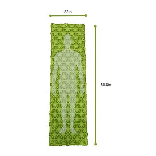 LXQ Shell Gonflable Tapis de Couchage Camping Mat Ultra léger air lit Camp lit imperméable à l'eau Sac à Dos randonnée Plage avec Air Support Cadre Design,Green