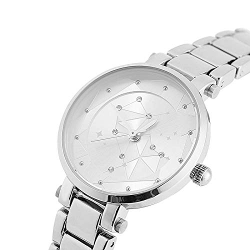 Reloj de Cuarzo, práctico Reloj Femenino, aleación de Zinc para alergias, cómodo para mamá o Tus Amigos, Amores(Silver)