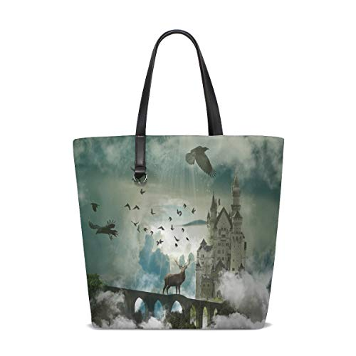 BKEOY Large Women Hand Shoulder Bag beautiful Wild Animal Brown Deer Tote Shopper Organiser Bags
