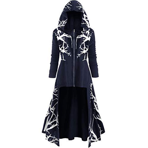 Women's Hoodie Dress Long Sleeves Retro Hooded Robe Cloak Dresses Medieval Renaissance Stylish Monk Knight Dresses Halloween Cosplay Costume Christmas Elegant Dress 3XL
