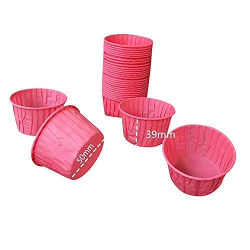 iSpchen Muffinförmchen / Cupcake-Förmchen aus Papier, 60 Stück, für Küche, Hochzeit, Party, Crimpen, mehrfarbig, 5 cm Durchmesser, Rosa