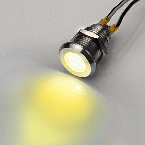 12mm - LED-Kontrollleuchte - V2A Edelstahl - AC/DC 6V-24V - (Salz) wasserdicht - Verschiedene Farben (Gelb)