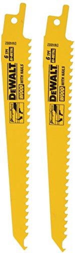 DEWALT DW4802-2 6-Inch 6 TPI Taper Back Bi-Metal Reciprocating Saw Blade (2-Pack) , Yellow