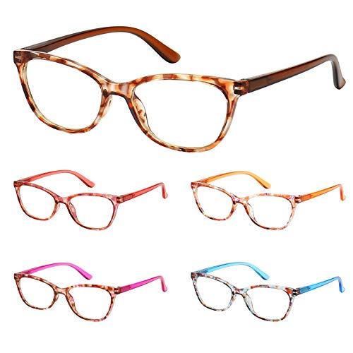 BLS 5 Pack Cateye Blue Light Blocking Reading Glasses, Fashion Computer Readers Anti UV Ray/Eye Strain/Glare Eyeglasses Women (5 Pack Mix, 0.0)