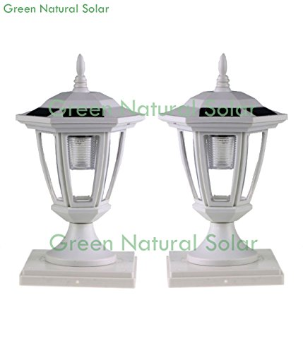 6-Pack WHITE Solar Hexagon Post Cap Lights with WHITE LEDS for 5X5 Fence Post- GREEN NATURAL SOLAR