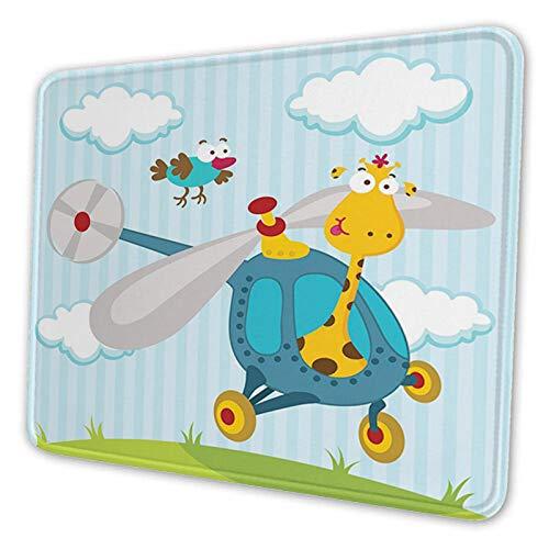 Tappetino per mouse in gomma antiscivolo per computer portatile con giraffa e uccellini in elicottero