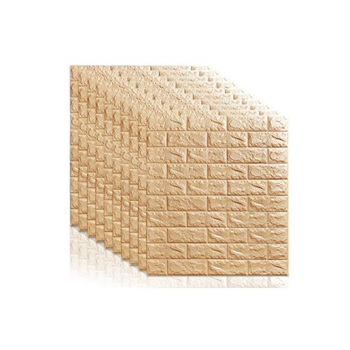 KUNYI 3D Brick Wall Stickers PE Foam Self-adhesive Wallpaper Art Wall Panels For Living Room Bedroom Background Wall Decoration (Color : Beige)