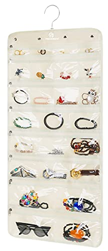 Premium Hanging Jewelry Organizer By Freegrace - Revolving Hanger - Secure Zipper Closure - 50 Pockets/Two-side Pockets - Foldable Storage & Display Solution - Perfect For All Jewelry & Bijoux - Beige