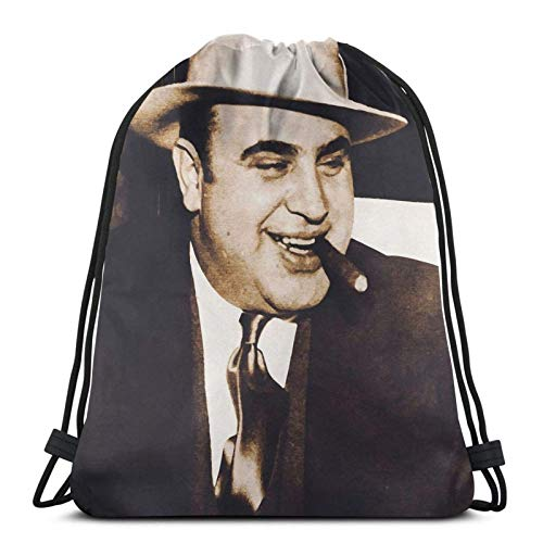 Al Capone Portrait Drstring Backpack Gym Sack Pack Solid...