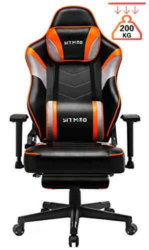SITMOD Gaming-Stuhl, Gamer-Stuhl mit Massage, Computer Bürostuhl Ergonomischer Büro Lehnstuhl für PC, Game Sessel mit Vibration, Fußlehne und Lendenkissen, Gamer Recliner Stuhl Racer-Orange