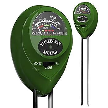 Trazon Soil pH Meter 3-in-1 Soil Tester Moisture Light pH Meter Tool for Garden Farm Plant Outdoor Indoor Lawn Care Water Soil Soil Hygrometer Sensor for Gardening Test Kit for Garden