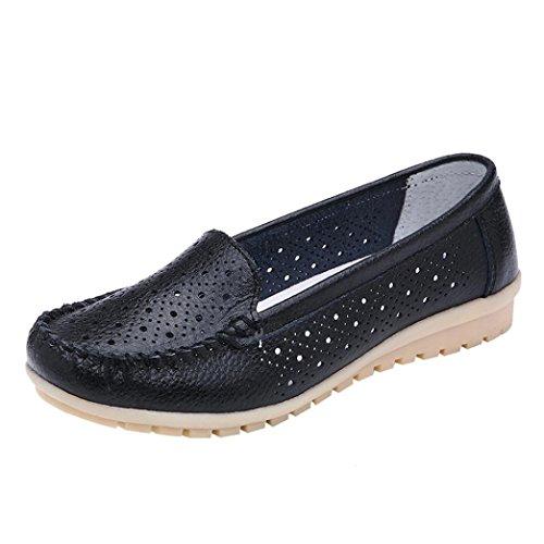 Zapatillas de Cuero para Mujer Otoño 2018 Zapatos de Plano de Dama PAOLIAN Senderismo Casual Náuticos Talla Grande Cómodo Calzado de Trabajo Cuña de Moda Señora Hueco