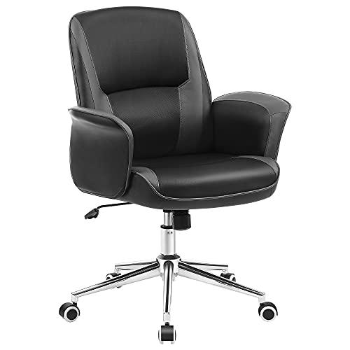 SONGMICS Bürostuhl, Schreibtischstuhl, Oberfläche aus PU, Drehstuhl, Computerstuhl, höhenverstellbar, Wippfunktion, schwarz-grau OBG015B01