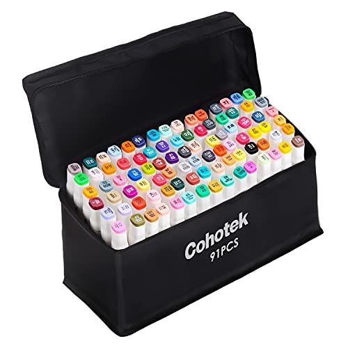 Cohotek 90 Farben Graffiti Stift, Permanent Twin Marker/Stifte Set mit Breit (6mm) und Fein (1mm), Ungiftig, ideal für Layout, Zeichnungen, Comic und Designs - Perfekt für Kinder, Anfänger und Profis