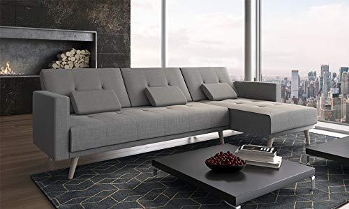 Comfort Home-Innovation - Divano convertibile ad angolo Verona, 267 cm, convertibile in letto, reversibile, grigio chiaro