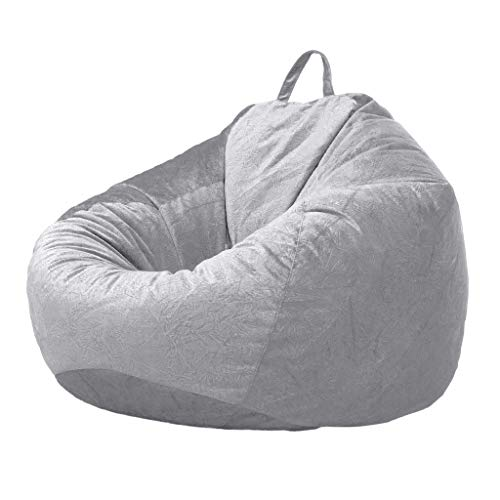 SM SunniMix Lounger Chairs Sofa Cover Velvet Bean Bag Cover with Handle Inner Pockets - Grey_2