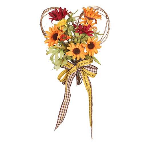 Boping Thanksgiving Party Supplies Simulation Sunflower Heart-Shaped Decorative Wall Hanging Wreath with Lights Bar Photography Props Thanksgiving Home Decorations(1Pc,Shipped Without Batteries)
