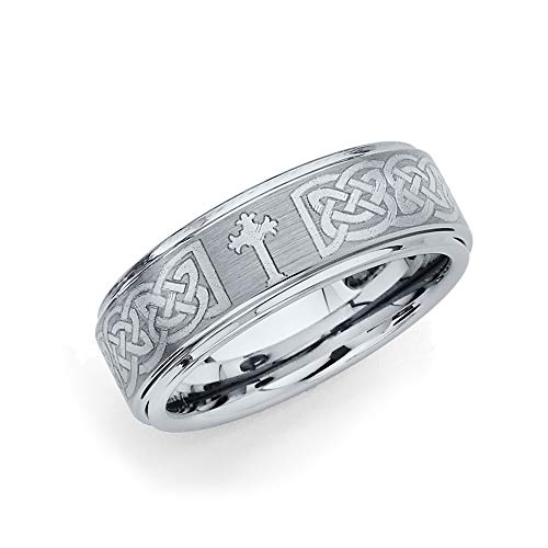 Wellingsale 8MM Comfort Fit Wedding Ring with Laser Etched Tribal Celtic Infinity Braid Pattern, Recessed Rounded Edges and Gothic Cross - Size 9.5