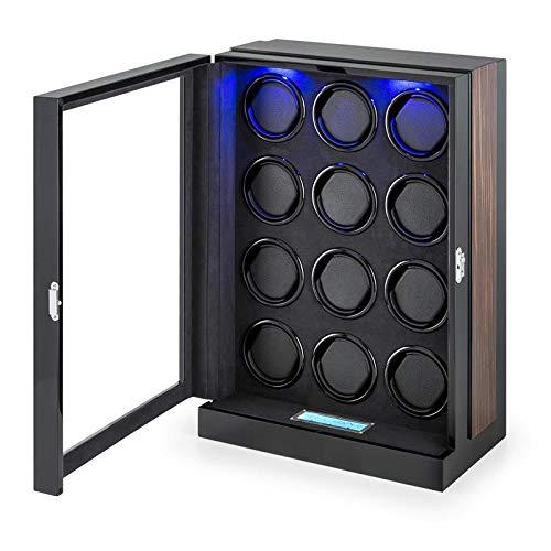 KLARSTEIN Klingenthal Single Edition - Estuche Relojes, Caja bobinadora, 12 bobinas, Capacidad para 12 Relojes, Panel de Control táctil, Iluminación LED, Elaborado a Mano, Vitrina de Madera, Negro