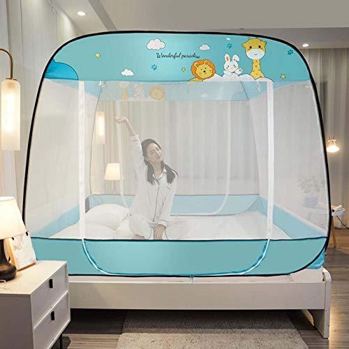 Mosquiteras emergentes, Dosel plegable para cama de dormitorio interior Tienda de cama de viaje portátil con 3 aberturas Cortina de cama de camping para niñas, niños, adultos,Verde,59×79in/150×200cm