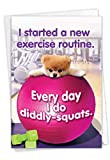 Boo's New Exercise Routine - Funny Gym Birthday Note Card with Envelope (4.63 x 6.75 Inch) - Pet Dog Humor, Stationery Gift - Playful Dog Workout, Lazy Animal Bday Notecard for Men, Women C6870BDG