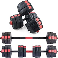 """SET OF 2 DUMBBELLS: 66 pounds for two dumbbells (33 pounds each), comes in one package, with four 4.4-pound plates, eight 5.5-pound plates. Four pcs of screw collars. Two black main rods (17.3"""" long) and one red connecting rod (4.3"""" long). Good Mater..."""