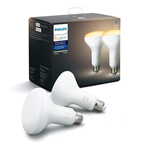 Philips Hue 548594 Smart Light BR30 Bulb, 2 Pack, White Ambiance, 2 Count