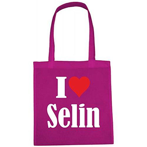 Tasche I Love Selin Größe 38x42 Farbe Pink Druck Weiss