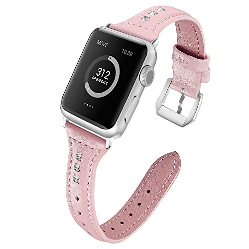 JWNCOAZS Cinturino in Pelle diamantato Sottile per Cinturino Apple Watch Series 5 4 3 2 1 Bracciale per iWatch 40mm 44mm 38mm 42mm Cinturino da Polso 38mm Rosa