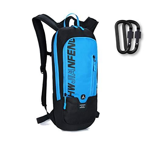 Keethem Fahrradrucksack Herren Damen Wasserdicht Trinkrucksack, 10L Fahrrad Rucksäcke MTB Rucksack zum Fahrradfahren Wandern Trekking Skifahren Reisen mit 2 Stück Karabiner (Blau)