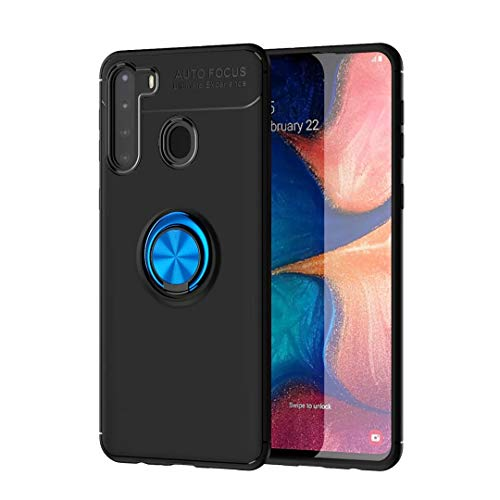 FTRONGRT Case for vivo Y73 5G, 360° Adjustable Rotating Ring Bracket,Compatible with Magnetic Car Mount ,Earthquake Resistance Cover for vivo Y73 5G -Black+Blue