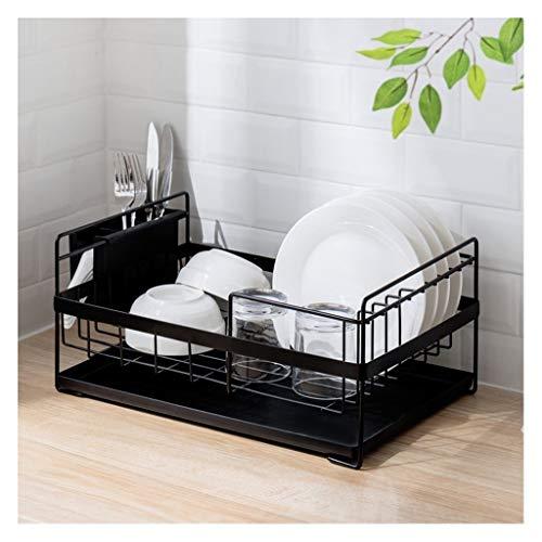 YJPDPZWJ Single-Layer-Abtropfgestell, Küchenregal, Eisen-Multifunktionsregal, Geschirr mit großem Fassungsvermögen, Essstäbchenaufbewahrung (Color : Black)