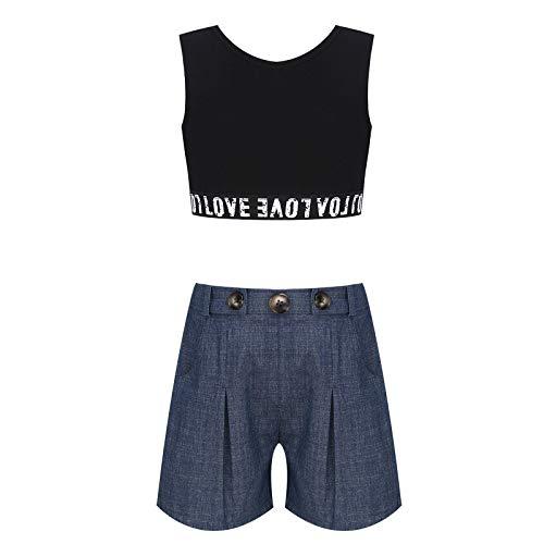 inlzdz Traje de 2 Piezas Algodón Camiseta y Pantalón Corto para Niña Crop Tank Top Verano Conjunto Deportivo para Adolescente Chica Blanco 13-14 años