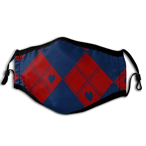 Unisex Diamond Chessboard Red Navy Blue Heart Valentine Face Mouth Cover Anti Dust Wind