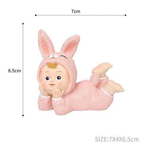 LINGE Pijamas de Animales pequeños Artesanías de Resina para bebés Escultura PastelFiesta Postre Adorno de Escritorio Decoraciones para automóviles, Conejito bebé