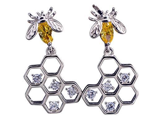 NicoWerk Damen Silber Ohrringe Biene aus 925 Sterling Silber Bienenwaben Gelb Kristall mit Stein Zirkonia Verspielt SOR273