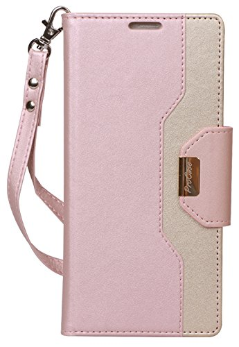 ProCase Galaxy Note 9 Wallet Case, Flip Kickstand Case with Card Slots Mirror Wristlet, Folding Stand Protective Cover for Galaxy Note 9 2018 -Pink