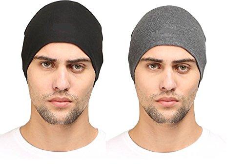 HUNTSMANS ERA Cotton Poly Blend Skull cap for Men and Women/Helmet Cap/Multipurpose Running, jogging Outdoor Skull cap (BLACK AND DARK GREY)