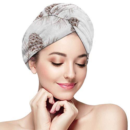 Mikrofaser-Haartuchwickel für Frauen , Schnelle trockene Haarkappe mit Knopf - Tannenzapfen-Tannen-Tannen-Weihnachtsbaum-Zedernfichte und Zapfen-Muster