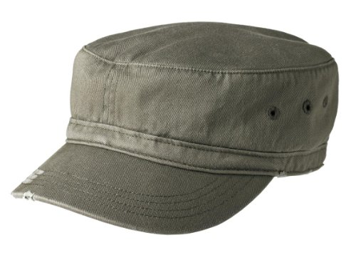 Joe's USA Military Style Distressed Enzyme Washed Cotton Twill Cap-Olive