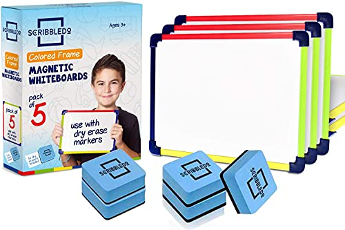 Pack of 5 Colored Frame Magnetic Dry Erase White Boards l 9  X 12  Whiteboard