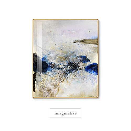 RuYun Abstracto Famoso Pintor ZAOWUKI imaginativo Lienzo Pintura póster e Impresiones Cuadros Abstractos Modernos Moderno Arte de la Pared Lienzo 60x70cm (No_Frame) _Imaginative