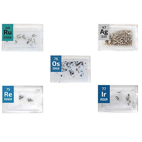 Pegys - Set di cristalli in metallo, rutenio, osmio, rinio, argento, iridio, 5 pezzi di piastrelle rare con elementi periodici